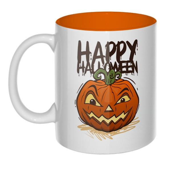 Happy Halloween, кружка цветная внутри