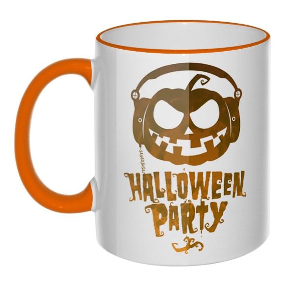 Кружка Halloween Party с цветным ободком и ручкой