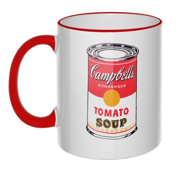 Кружка Энди Уорхол Campbell's Soup с цветным ободком и ручкой, цвет красный