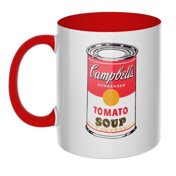 Кружка Энди Уорхол Campbell's Soup цветная внутри и ручка, цвет красный