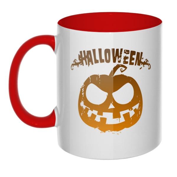 Halloween, кружка цветная внутри и ручка