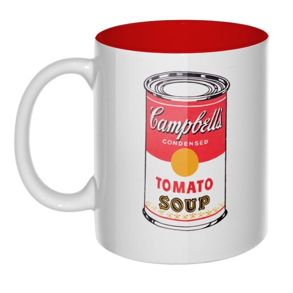 Кружка цветная внутри Энди Уорхол Campbell's Soup, цвет красный