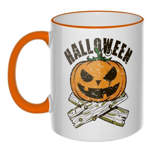 Кружка Хэллоуин с цветным ободком и ручкой