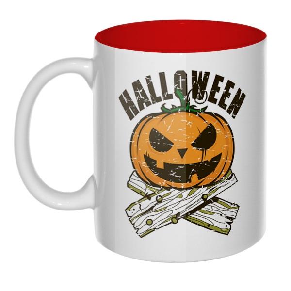 Хэллоуин, кружка цветная внутри