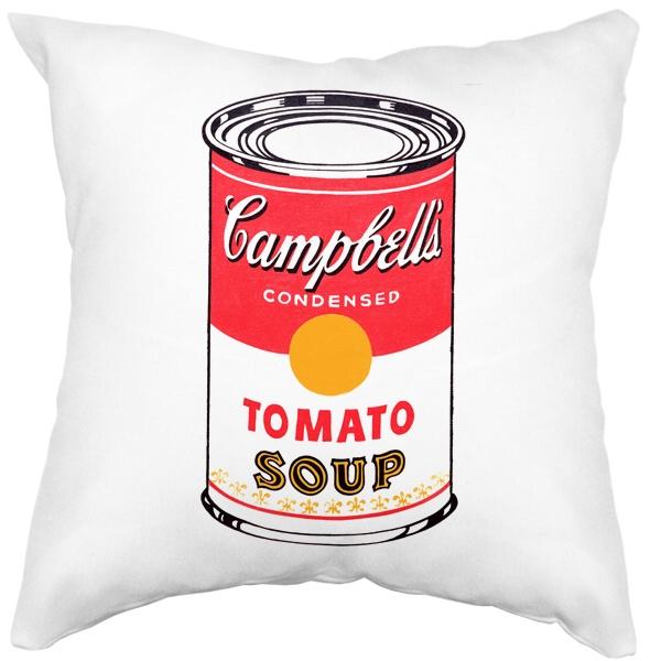 Подушка белая Энди Уорхол Campbell's Soup