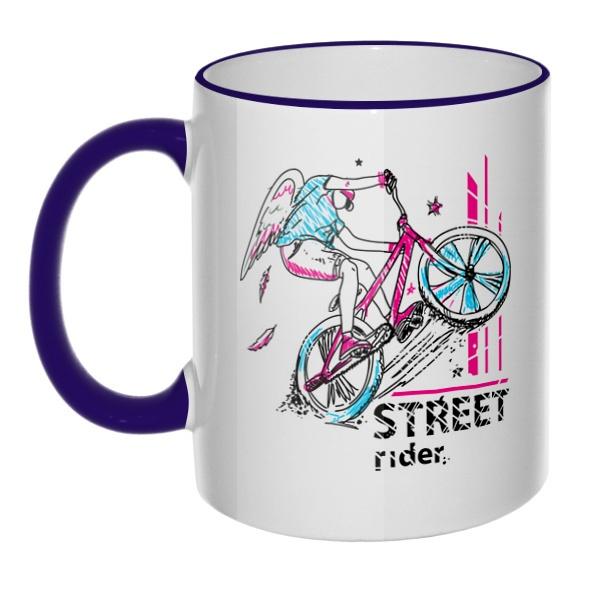 Кружка Street Rider с цветным ободком и ручкой