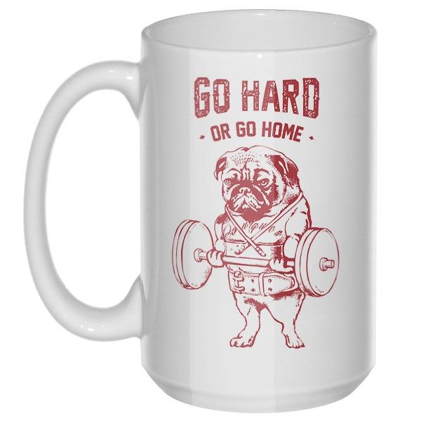Go hard or go home, большая кружка с круглой ручкой