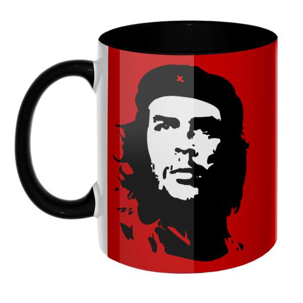 Che Guevara (Эрнесто Че Гевара) на красном фоне (Цветная 3D-кружка), цвет черный