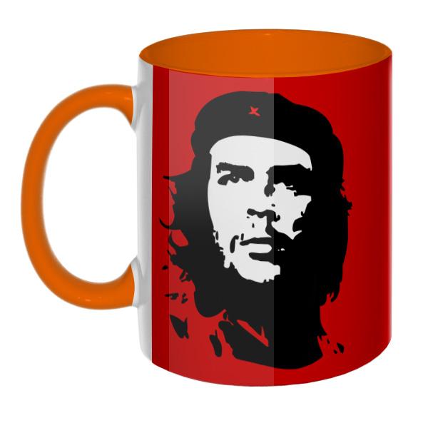 Che Guevara (Эрнесто Че Гевара) на красном фоне (Цветная 3D-кружка), цвет оранжевый