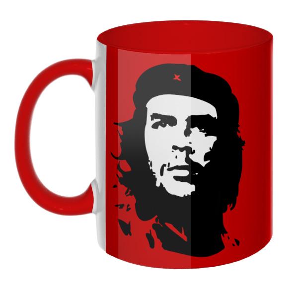 Che Guevara (Эрнесто Че Гевара) на красном фоне (Цветная 3D-кружка), цвет красный