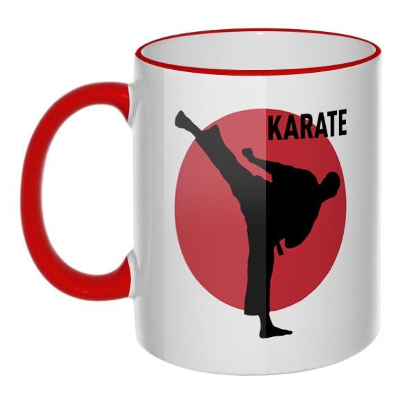 Кружка Karate с цветным ободком и ручкой