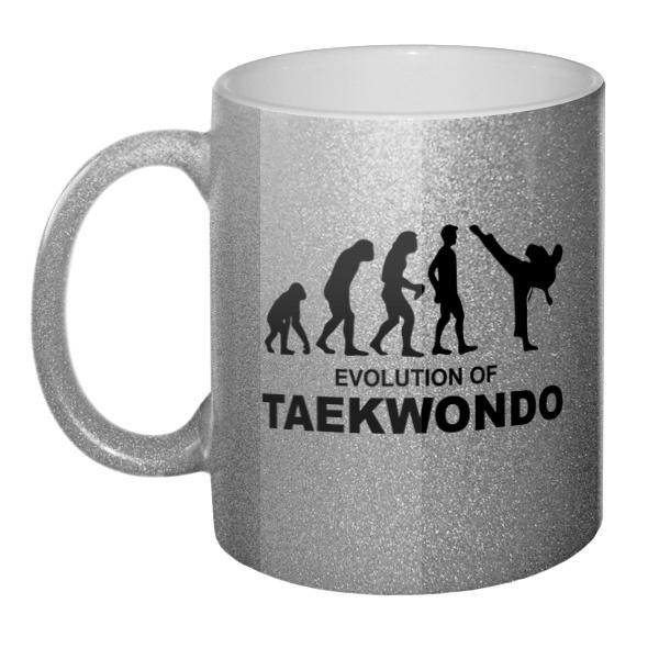Кружка блестящая Эволюция тхэквондо
