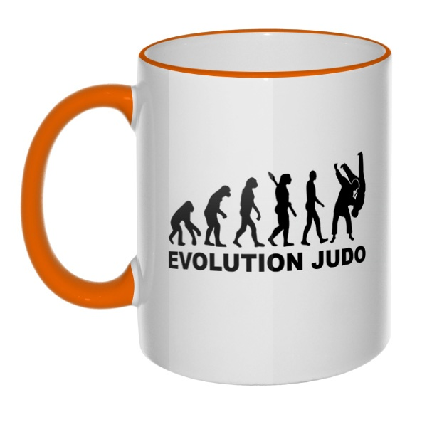 Кружка Эволюция Дзюдо с цветным ободком и ручкой