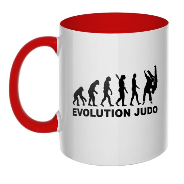 Эволюция Дзюдо, кружка цветная внутри и ручка