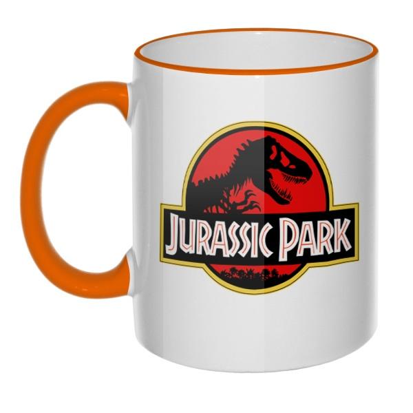 Кружка Jurassic Park с цветным ободком и ручкой