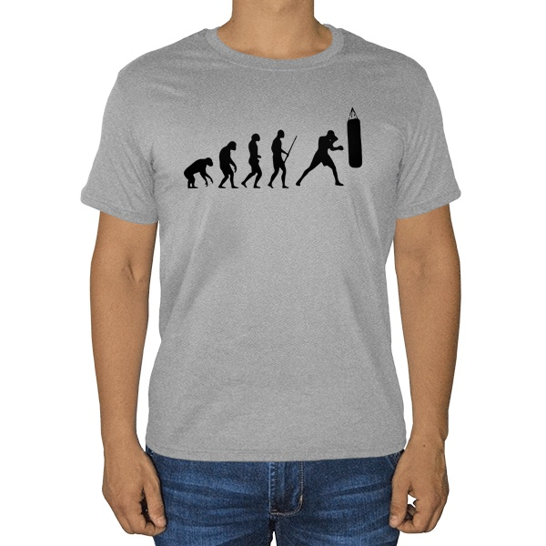 Эволюция бокса, серая футболка (меланж)