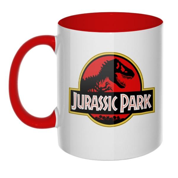 Кружка Jurassic Park цветная внутри и ручка