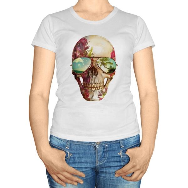 Женская футболка Череп в очках
