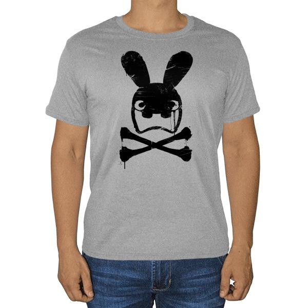 Граффити черепа кролика, серая футболка (меланж)