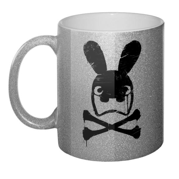 Кружка блестящая Граффити черепа кролика