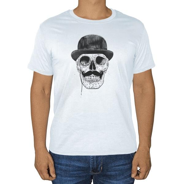 Череп с усами в шляпе, белая футболка