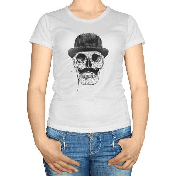 Женская футболка Череп с усами в шляпе
