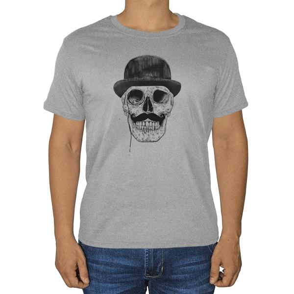 Череп с усами в шляпе, серая футболка (меланж)