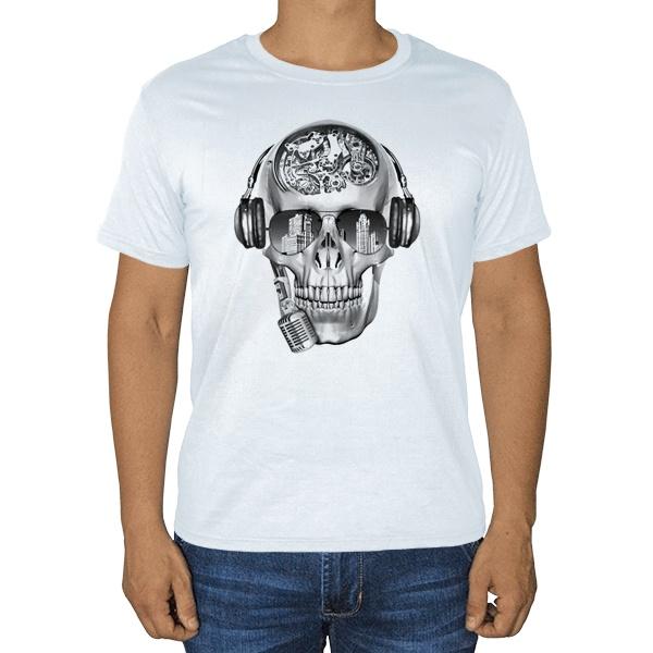 Череп с шестеренками, белая футболка