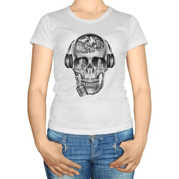 Женская футболка Череп с шестеренками