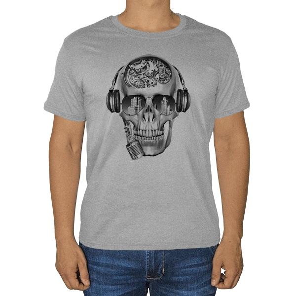 Череп с шестеренками, серая футболка (меланж)