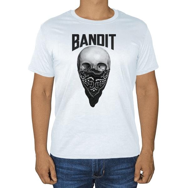 Череп с банданой на лице, белая футболка