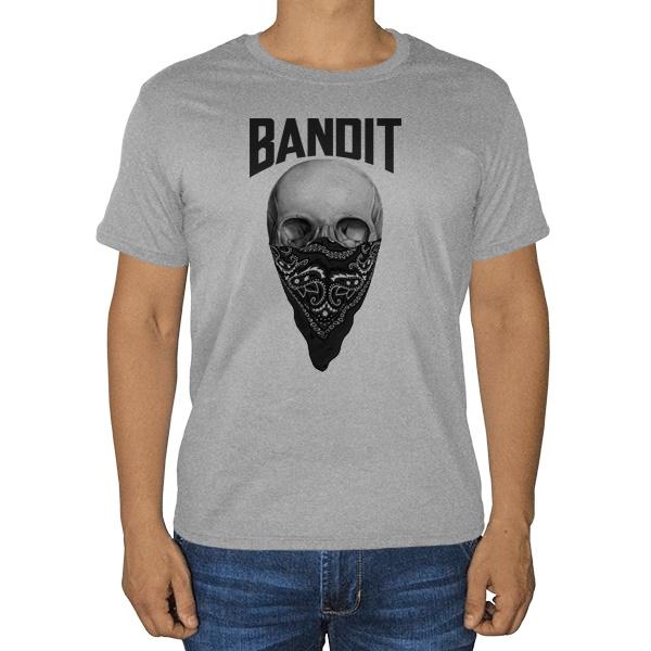 Череп с банданой на лице, серая футболка (меланж)