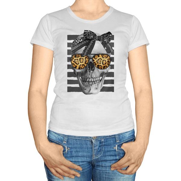Женская футболка Череп с бантиком в очках