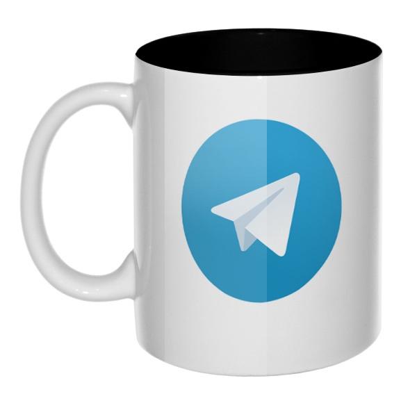 Кружка цветная внутри Логотип Telegram