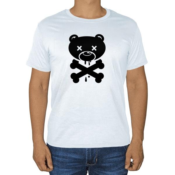 Медведь-пират, белая футболка
