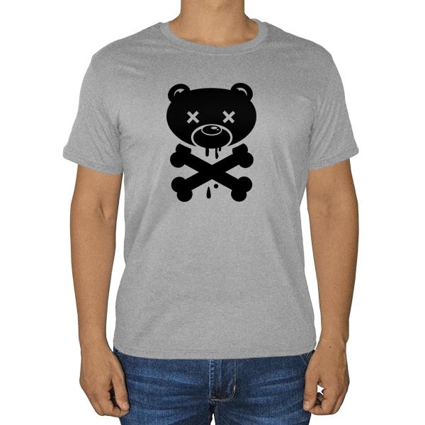Медведь-пират, серая футболка (меланж)