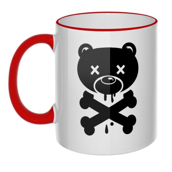 Кружка Медведь-пират с цветным ободком и ручкой
