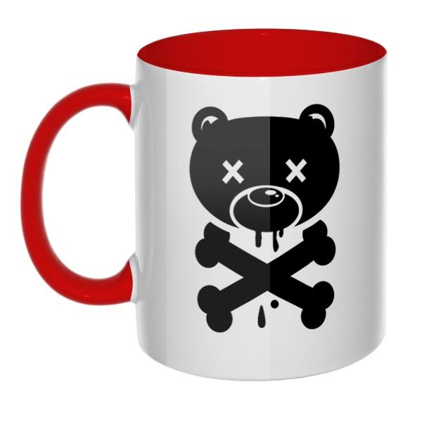 Медведь-пират, кружка цветная внутри и ручка