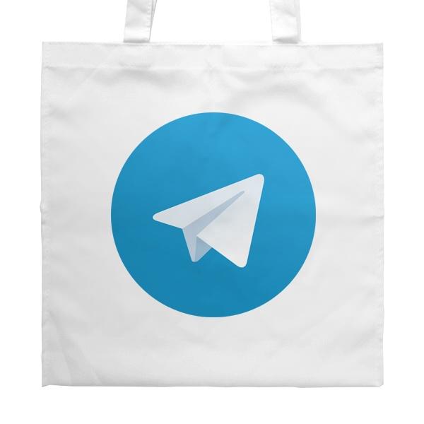 Белая сумка Логотип Telegram, цвет белый
