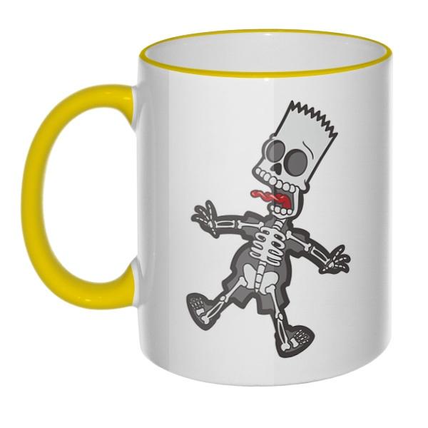 Кружка Скелет Барта Симпсона с цветным ободком и ручкой