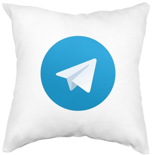 Подушка белая Логотип Telegram, цвет белый