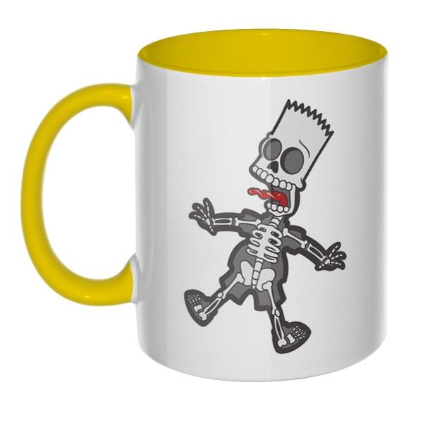 Скелет Барта Симпсона, кружка цветная внутри и ручка