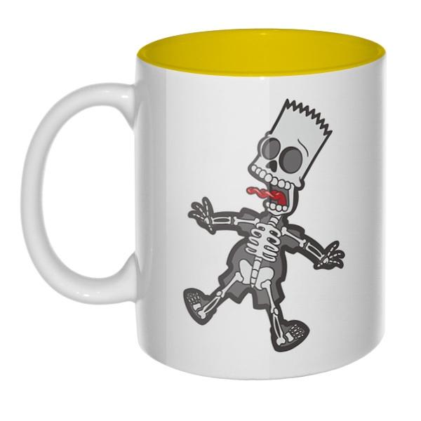 Скелет Барта Симпсона, кружка цветная внутри