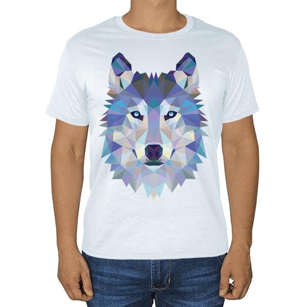 Белая футболка Полигональный волк