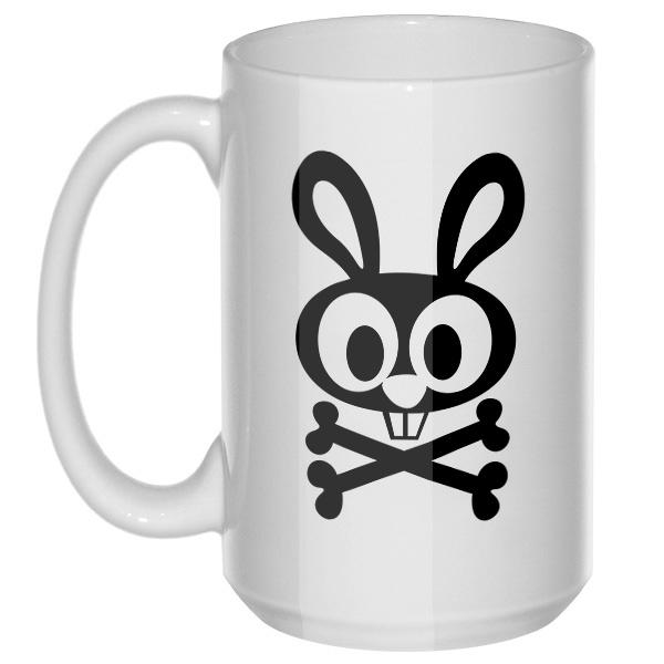Заяц-пират, большая кружка с круглой ручкой