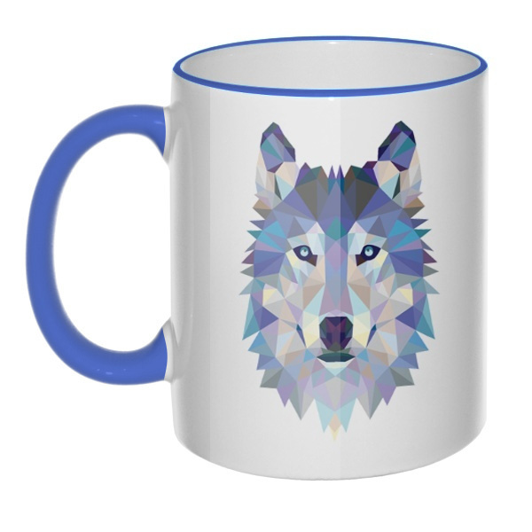 Кружка Полигональный волк с цветным ободком и ручкой