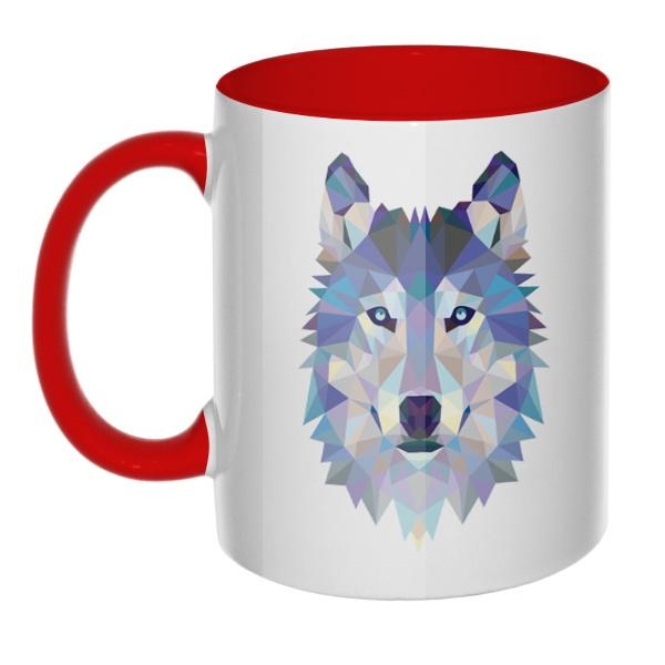 Кружка Полигональный волк цветная внутри и ручка