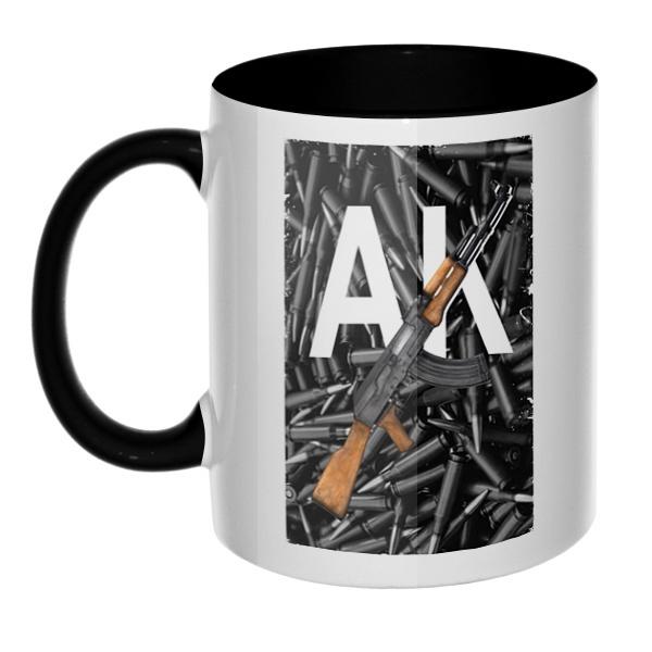 АК, кружка цветная внутри и ручка