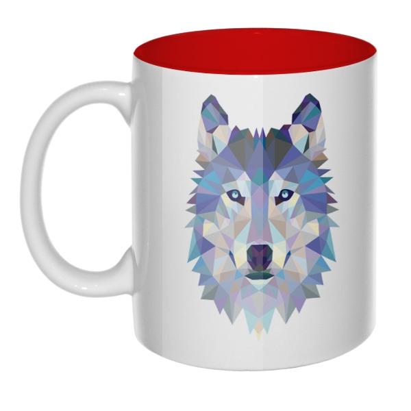 Кружка цветная внутри Полигональный волк