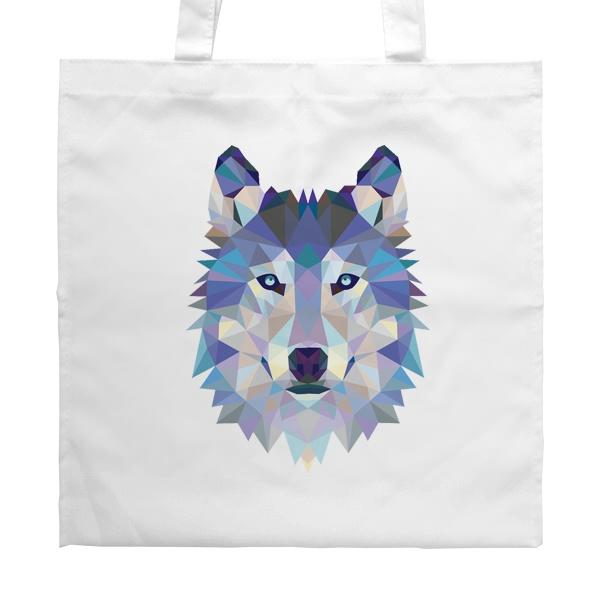 Белая сумка Полигональный волк, цвет белый